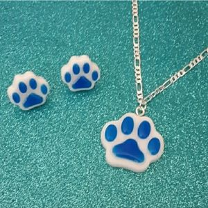 Jewelry - White and blue paw print necklace earrings set